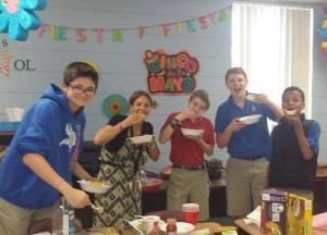 Hispanic Cultures students take a taco break from their studies.