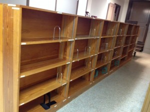 Library shelves are emptied of books, awaiting the move to its new location on campus.